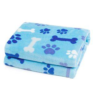 Allisandro Pet Premium Double Couche Jeté de lit pour Chien, Chat, Chiot, Chaton Un côté Un côté en Velours Super Doux Flanelle (100X80cm, Bleu)