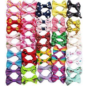 Chenkou Craft 50pcs/25pairs nouveaux Poils de chien nœuds Clips Petite Products Mélange Couleurs varie de motifs de toilettage pour animal domestique Cheveux nœuds Chien Accessoires