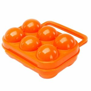 Depory Portable 6Slots Oeuf Support de Transport Pliable Plastique résistant aux Chocs Boîte de Rangement étui récipient pour Barbecue randonnée en Plein air Camping Pique-Nique (Orange)
