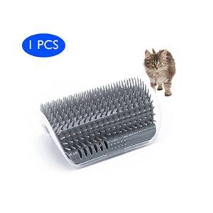 EASE Chats Brosse Peigne Fournitures pour animal domestique Coin Massage machine de massage d'angle pour animal domestique Chat Self tondeuse Peigne jouet pour chat avec herbe chat (Gris)
