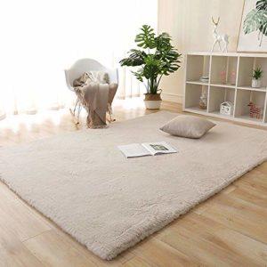 Enkoo Tapis antidérapant en fourrure de lapin couleur salon tapis moquette chambre tapis de chevet Minimaliste tapis en daim Table basse chambre escaliers lit Canapé Foyer Tapis bébé absorbant l'eau T