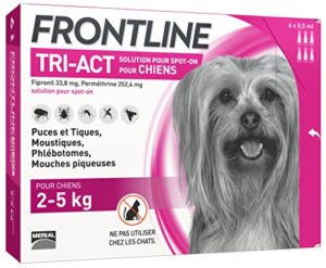FRONTLINE TRI-ACT Chien – Anti-puces et anti-tiques pour chien – 2-5kg – 6 pipettes