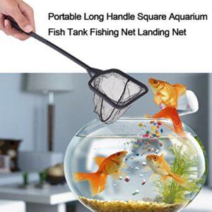 Gugutogo Poignée à Long Manche carré Aquarium Fish Tank de Pêche Net Net Landing (Couleur: Noir)