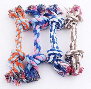 Haodou Double Noeud Coton Corde Chien Jouets Chew Chien Jouets Nettoyage Jouets à mâcher Durable Pet Interactif Formation Jouets (28CM)