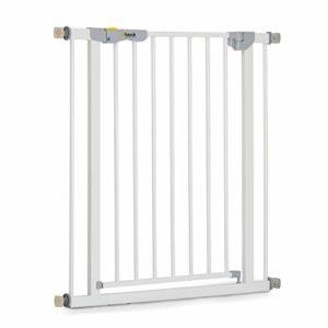 Hauck/Autoclose N Stop/Barrière de Sécurité Escalier sans Perçage/Fermeture Automatique et Magnétique/Indicateur/ Ouvrable dans le deux Sens/ 75-80 cm/Extensible jusqu'á 122 cm/Métal Blanc