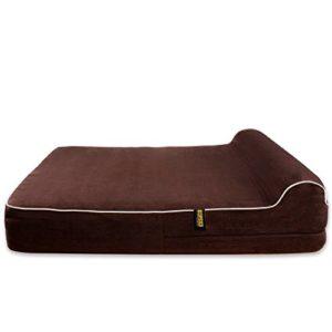 Housse de rechange pour lit de chien en mousse à mémoire de forme – Marron – Par Kopeks