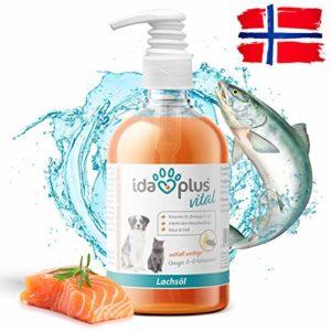 IdaPlus Huile de saumon – Vitamine D, oméga 3+6 – Renforce le squelette – Peau et pelage – fabriqué en Allemagne (500 ml)