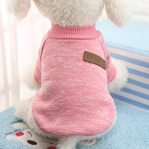 Idepet Chien de Compagnie Chien Pull, Chaud Chien Pulls Cat vêtements, Polaire Animal de Compagnie Manteau pour Chiot Petit Moyen Grand Chien, Rose et Gris (m, Rose)