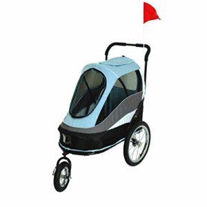 JKL Poussette pour Animaux de Compagnie, Chariot de Luxe pour Chiens, Chariot, Chariot de Berger Poutine, Voiture de Voyage Facile à Plier, Charge de 25 kg (Couleur : Bleu)