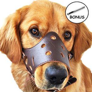 JUNMO® chien en cuir Muselière anti-aboiement pour les grands chiens de petite taille moyenne (Marron, L)
