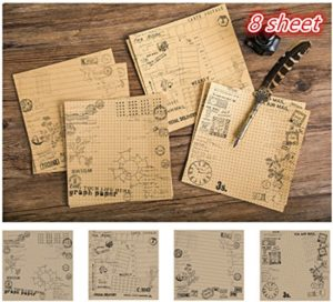 Tic-Tac 8 Feuilles Papier Vintage  Autocollant Papier Designer Décoration Scrapbook (Vieux câblage)