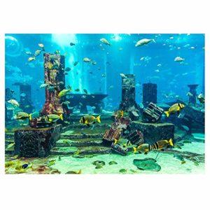 Aquarium Fond Underwater Poster PVC Coral Fish Tank Décoration Wall Sticker modèle de Ville sous-Marin