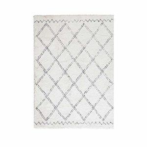 Enkoo Tapis fait main tapis salon minimaliste de style nordique blanc couverture en peluche épaisse brun beige motif ivoire motif géométrique Design mélange super doux haut profond tapis tapis salon t