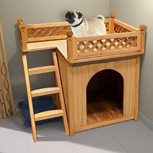 Niche villa pour chiens et/ou chats en bois avec terrasse – brun – 66x53x64cm