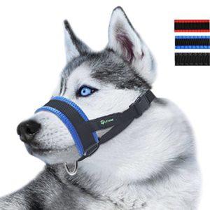 RockPet Muselière en Nylon Réglable pour Chiens, Museliere Anti Aboiement Anti-Morsure (M,Bleu)