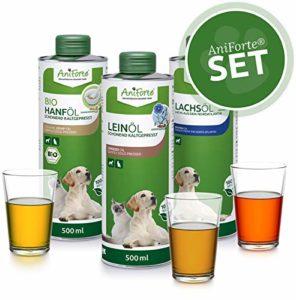 Set de 3 huiles pour barf AniForte – 500 ml d'huile de saumon, d'huile de lin et d'huile de chanvre – Produit naturel pour chiens et chats