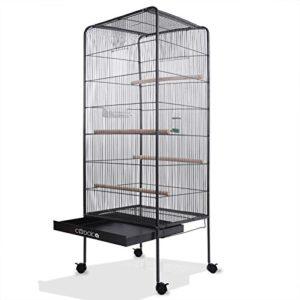 Volière pour oiseaux Cage XL 54 x 54 x 146cm 2 portes Mangeoire Abreuvoir Canaries perroquet perruches