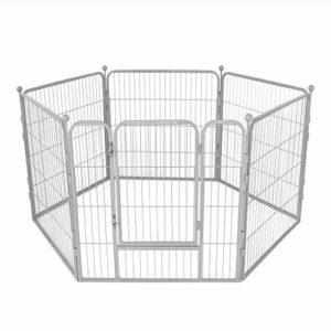 AA-GWCWWWL Clôture pour Animaux de Compagnie clôture pour Chiens clôture de sécurité clôture pour Chiens Grande et Moyenne clôture clôture d'isolement pour Chien/Argent