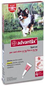 Advantix ® Spot On pour chiens de plus de 10 kg à 25 kg – 4 pipettes de 2,5 ml – …