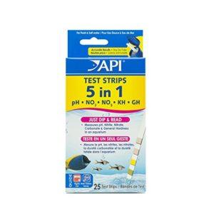 Api Test de Qualité D'eau pour Aquariophilie 5 en 1 Aq Test Strips Box 25 Bandelettes