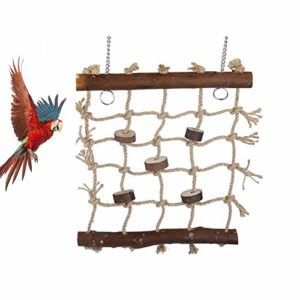 Balançoire à oiseaux, balançoire en bois avec 2 crochets et corde tissée pour perroquets, perruches, perruches, cacatoès, conures, aras, oiseaux, pinsons grimpants à mâcher