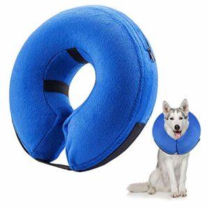 Frifer Collier Gonflable de Récupération Collerette de Protection Ajustable Cône de Cicatrisation Confortable pour Chien (S)