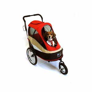 GWM Poussette pour Animaux de Compagnie, Chariot de Luxe pour Chiens, Chariot, Chariot de Berger Poutine, Voiture de Voyage Facile à Plier, Charge de 25 kg (Couleur : Red)