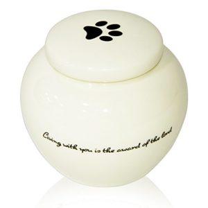 Homelix Blanc Urne funéraire pour Animal Domestique Céramique Urne funéraire pour Chat Chiens Cendres