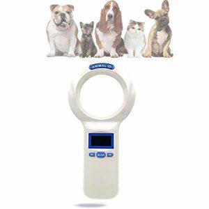 QHLJX RFID 134.2Khz ISO FDX-B Lecteur de Puces D'Identification des Animaux, Scanner Animal de Poche, Affichage OLED, Convient pour L'Identification des Animaux Gestion des Animaux