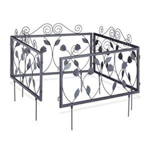 Relaxdays 10020696 Clôture décorative de jardin en métal panneau extérieur 47 x 56,5 cm, noir