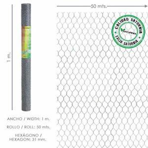 Saturnia Treillis Triple Torsion 31/100 cm Maille métallique, corréles, cages, poulailler. Rouleau de 50 mètres pour usage domestique.