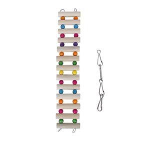 UEETEK Animal de compagnie escalade échelle en bois oiseaux jouets avec des crochets pour perroquet écureuil gerbille calopsitte