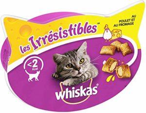 Whiskas Les Irrésistibles – Friandises au Poulet et au Fromage pour Chat, 8 Boîtes de 60 G de Récompenses