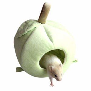 ZYUEER Petit Animal Lit Maison Cage Cochon d'Inde Hamster Maison d'hiver au Chaud écureuil Chinchilla Hérisson Maison Nid Cage Rat Couchage lit (13 x 12 cm, Vert)