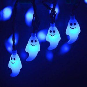 AchidistviQ Halloween Lumières d'extérieur Halloween 30 LED Solaire Ghost Lampe de Jardin Arbre Décoration pour Halloween Décoration d'intérieur