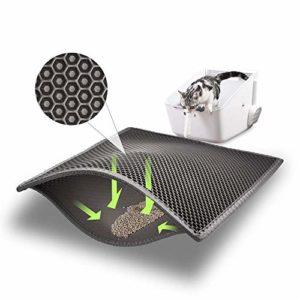 ASOBEAGE Tapis de litière, Tapis de litière en nid d'abeille Tapis de litière pour bac à litière Tapis de litière en nid d'abeille pour Chat (38 * 61cm, Gris)
