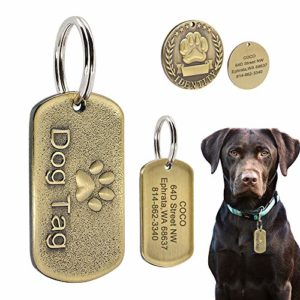 Beirui Médaille d'identification Militaire en Acier Inoxydable pour Chien avec nom gravé + numéro + adresse – Cuivre en Relief pour Chiens de Taille Moyenne et Grande Taille