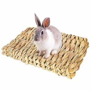 Bolonbi Lot de 2 lits à mâcher pour animaux en herbe tissée naturelle pour lapin, cochon d'Inde, perroquet, lapin, hamster, rat