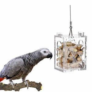 Calayu Mangeoire à oiseaux en acrylique transparent pour oiseaux