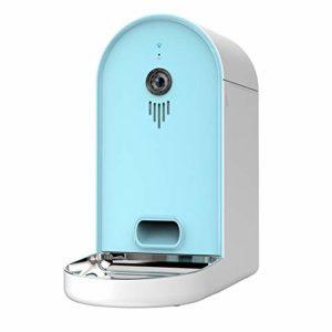 DjfLight Distributeurs de Nourriture pour Chats at Chiens, Distributeur Automatique, APP Mobile Intelligent Télécommande vidéo à Distance synchronisant l'alimentation Double Grande capacité,Blue