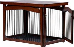 dobar 35246Multi Fonction Cage pour Chien avec arrêt de Porte en Bois avec Surface de Table pour l'intérieur, pour Chien Box Indoor Pliable, Marron