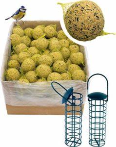 dobar Lot de 100 Boules de Graisse avec Filet et 2 Porte-Boules de Graisse pour Oiseaux Sauvages 9 kg