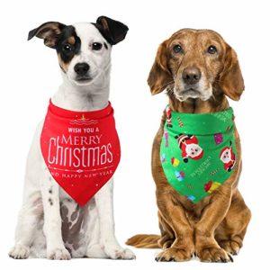 Dusenly Lot de 2 bandanas de Noël pour chien Triangle Bavoir Père Noël Écharpe Kerchief Décoration pour chien Costume de Noël Accessoires
