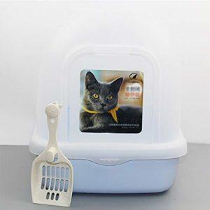 Élégant Cat Litière Chaton Toilette Filtre Porter Poignée Rabat Porte Chat Litière Bac Toilette Box Bleu Chat Sable Bassin Entièrement Clos Flip Cat Toilette