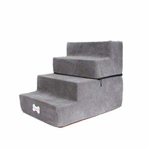 Escalier pour Chien 4 Marches – Escaliers pour Animaux De Compagnie Pliable Et Lavables, Éponge + Velours Peau De Daim Escalier pour Chat 38X52X40 Cm