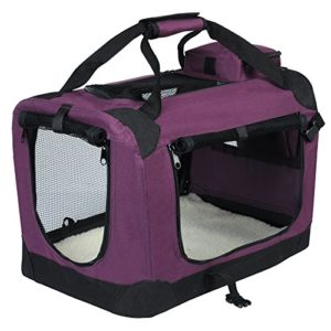 EUGAD 0114HT Cage de Transport en Oxford Sac de Transport Pliable pour Chien ou Chat,Violet 60x42x42cm