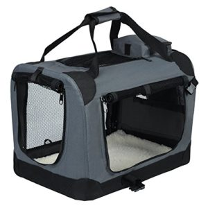 EUGAD 0129HT Cage de Transport en Oxford Sac de Transport Pliable pour Chien ou Chat,Gris 91,4×63,5×63,5cm
