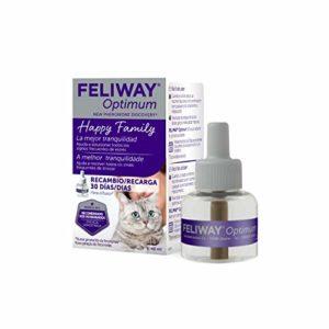 Feliway Optimum – Nouvelle génération de phéromones – Résout tous les signes de stress du chat – Araignées, peurs, changements, marquage avec urine, tensions et conflits entre chats – Recharge 48 ml