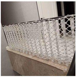 Filet de Décor Protection Clôture Escalade Tressé Corde Camion Cargo Remorque Filet Maille Blanc pour Balcon Balustrade Escalier Aire de Jeux Enfants Décoration Intérieure en Plein Air 10cm/6mm
