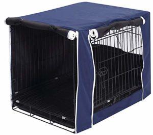 Geyecete Housse de cage pour chien – Housse universelle pour cage de 63-124 cm en fil de fil, tissu léger 100 % polyester respirant double porte Housse de cage pour chien Bleu foncé Taille L
